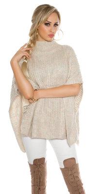 Trendy KouCla Chunky Knit Poncho met Turtlenek in Beige