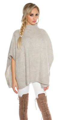 Trendy KouCla Chunky Knit Poncho met Turtlenek in Grijs