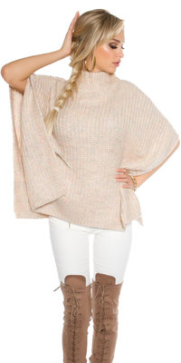 Trendy KouCla Chunky Knit Poncho met Turtlenek in Roze