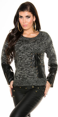 Sexy Knit Sweater met Leather Look Applications in Zwart