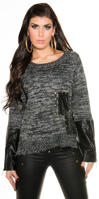 Sexy Knit Sweater met Leather Look Applications in Navy
