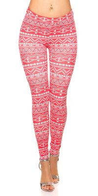 Sexy leggings met Aztec Print in Rood
