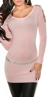 Sexy KouCla Long Sweater met Steentjes op de Shouders in Roze
