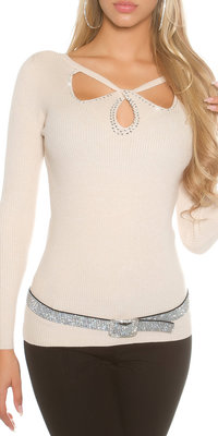 Sexy KouCla Ribbed Jumper met Sexy Insight in Beige