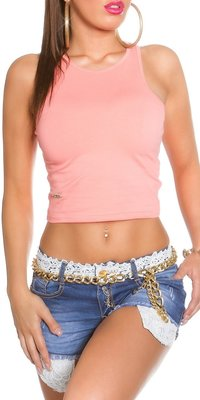 Sexy KouCla Tank Crop Top in Coral