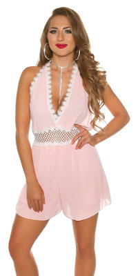Sexy Neckholder Chiffon Playsuit in Roze