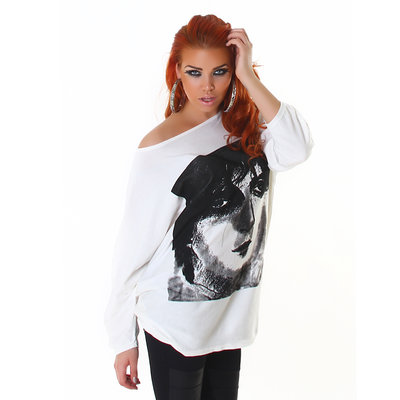 Sexy Pullover L695 met Print in Wit