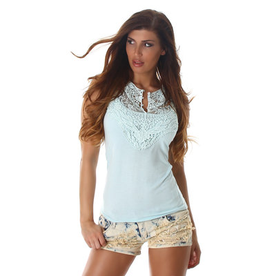 Sexy Topje met Embroidery TS549 in Turquoise
