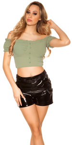 Sexy Crop Shirt Padded in Kaki