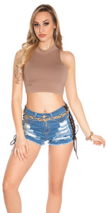 Sexy KouCla Crop Top met Collar in Cappuccino