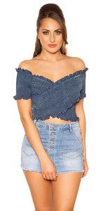 Trendy Off Shoulder Shirt met Gathering in Blauw