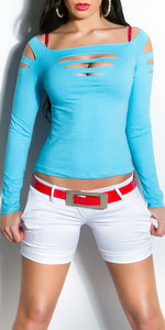 Sexy Longsleeve Dancetop met Cut Outs in Turquoise