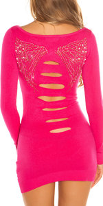 Sexy KouCla Long Jumper met Rivets & Rhinestones in Fuschia