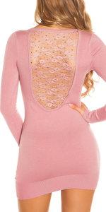 Sexy KouCla Longsweater met Kant en Studs in Roze