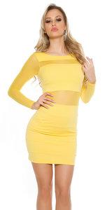Sexy KouCla Minidress met Transparent Sleeves in Geel