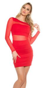 Sexy KouCla Minidress met Transparent Sleeves in Rood