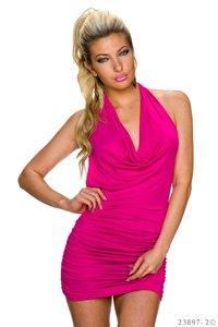 Sexy mini jurk van L.B. Moda in fuschia