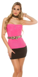 Sexy bandeau top met riem in fuschia