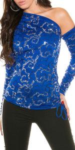 Sexy KouCla open schouder Shirt in blauw