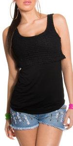 Sexy 2 in 1 80's look top met net details & pailettes in zwart