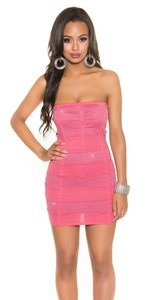 Sexy Bandeau Knitted Minidress met Lurex in Coral