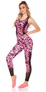 Trendy Workout Outfit met Top & legging in Fuschia