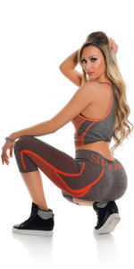 Trendy Workout Outfit Tanktop & Capri Leggings in Oranje