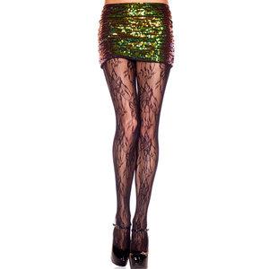 Kanten Panty Met Bloemenpatroon - Zwart