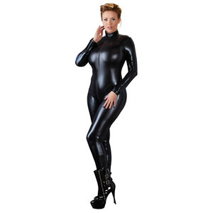 Plus Size Wetlook Catsuit Met Lange Rits