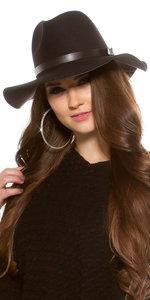 Trendy Fedora Felt Hoed met Leatherette Ribbon in Zwart