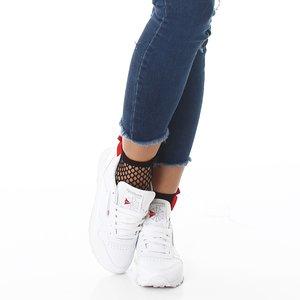 Sexy Net Sok met Strik in Zwart/Rood