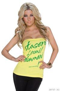 Sexy bandeau top met opdruk in geel