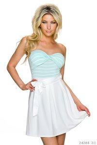 Sexy strapless mini jurk van Italy Moda in turquoise-wit