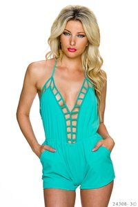 Sexy Hotpants Jumpsuit van Glam Style in Turquoise
