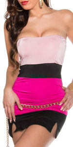 Sexy Colour Blocking Bandeau Top in Fuschia/Roze
