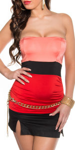Sexy Colour Blocking Bandeau Top in Coral/Rood