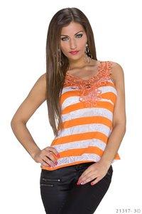 Sexy Basic Gestreept Topje in Oranje