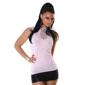 Sexy Jela London top met embroidery in roze