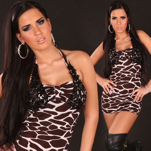 Sexy nek mini jurk met pailletten in giraf