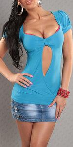 Sexy top met open rug in turquoise