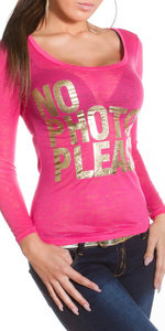 "Trendy KouCla longsleeve shirt ""No photos please"" in Fuschia"