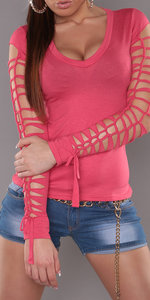 Sexy shirt met veter details en V-Nek in Roze