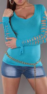 Sexy shirt met veter details en V-Nek in Turquoise