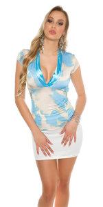 Sexy Shirt met Low Nekline Batikdesign in Turquoise