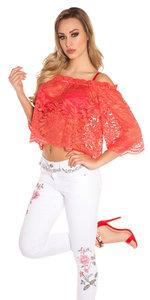 Sexy Carmen Kanten Shirt in Coral