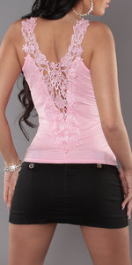 Sexy Carrier Top met Embroidery in Roze