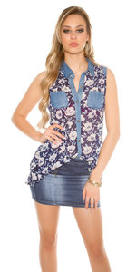 Sexy Chiffon Blouse met Floral Print in Navy