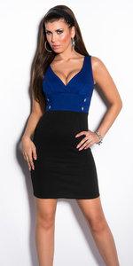Sexy Bi-Colour Mini Jurk met V-Nek en Knoopjes in Blauw