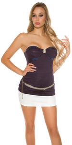 Sexy Bandeau Top met Sequins en Strass in Navy