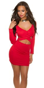 Sexy KouCla Party Mini Dress in Kylie Jenner Look in Rood